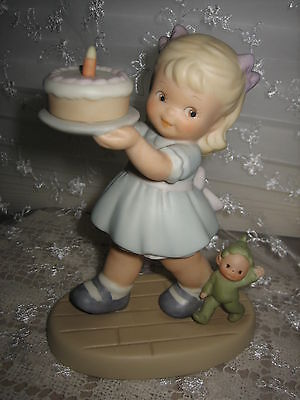 Vintage Memories Of Yesterday Birthday Figurine With Boo Cake Girl Enesco