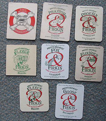 Collection of 8 vintage Bruces Firkin brewery beermats from the 1970's Dogbolter