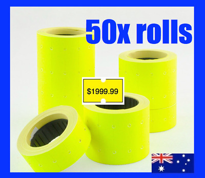 30 Fluro Pricing Price Tag Tagging Gun Label Rolls Bulk Yellow