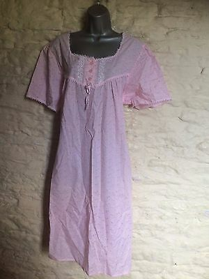 pink print traditional nightie nightgown nightdress size 18 20