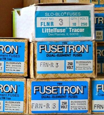 FRN-R-3 Amp FUSETRON Time Delay BUSSMANN Class RK5 Fuse NEW Lot of 10 250V