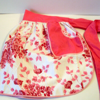 Vintage Handmade Pink and White Floral Apron with Pockets