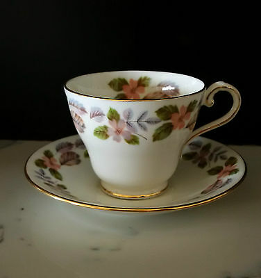 Aynsley 'April Rose' 1970s Vintage Cup and Saucer Set VGC Gold edging ENGLAND