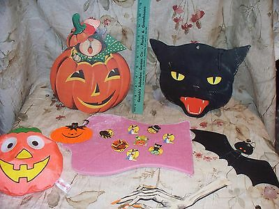 Vintage Halloween Decorations Lot 3- Used- Colorful And Neat Variety- Low Price