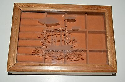 Vintage Nautical Boating Sailboat Ship Wooden and Glass Men's Jewelry Box Rare