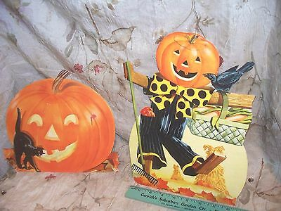 Vintage Halloween Decorations Lot 2- Used- Colorful Stand- Ups- Low Price