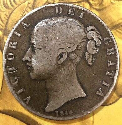 Queen Victoria Young Head Crown 1844 Star Stops Toned