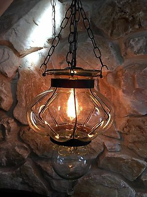 REDUCED!  Vintage Metal Cradle-Hand Blown Bulging Bubble Glass-Edison Swag Lamp