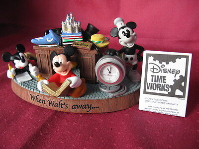 """""""NEW"""" Disney When Walt's Away Time Works Mickey Mouse Desk Clock 4 generations"""