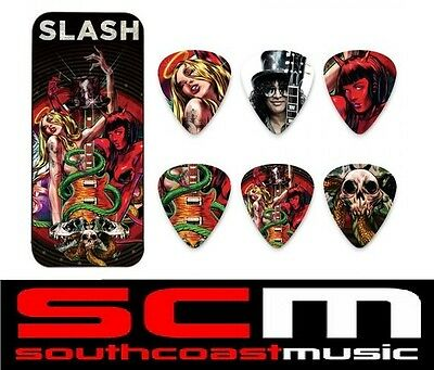 DUNLOP SLASH GUNS N ROSES GUITAR PICKS PICK TIN 6 x TORTEX PLECTRUMS DESIGNED