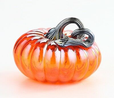 "New 5"" Hand Blown Art Glass Pumpkin Sculpture Figurine Fall Harvest Orange"