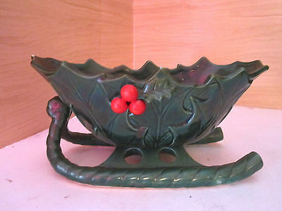 Large Vintage lefton holly leaves sleigh planter display Made in Japan w Label
