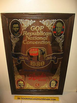 "Stroh's Beer ""1980 Gop Republican National Convention"" Framed Poster -Gold Inlay"