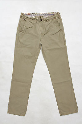 NYC HILFIGER DENIM Chino MENS COTTON PANTS STRAIGHT LEG BEIGE ZIP W34 L34 SuPER