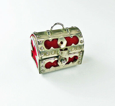 Vtg Treasure Chest Thimble Case Pierced White Metal Red Lining Fabric & Thimble