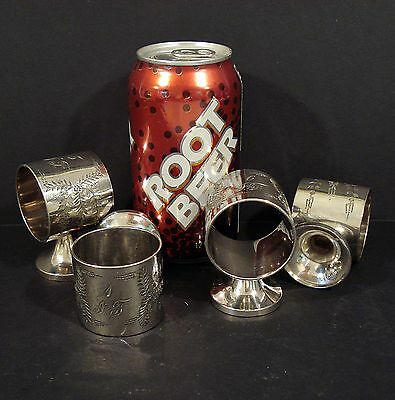 4 Antique MERIDEN Silverplate Victorian Pedastal NAPKIN RINGS mongramed