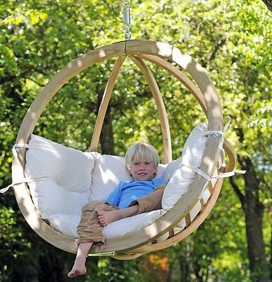 Garden Swing Seat Cushions Wooden Hammock Chair Outdoor Rotating Hanging Patio