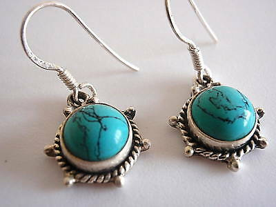 Blue Turquoise 925 Sterling Silver Dangle Earrings Rope Style Accented