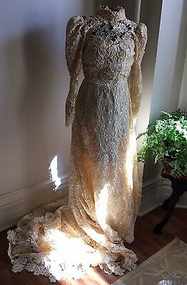 VINTAGE HEAVY PEARL LACE WEDDING LONG SLEEVE TRAIN GOWN DRESS HIGH NECK 80s