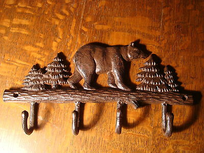 CAST IRON BEAR WITH PINE TREES Cabin Kitchen or Bathroom Towel 4 Hook Hanger NEW