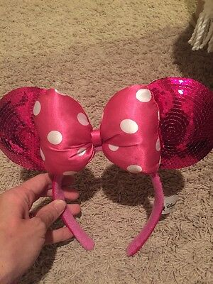 Authentic Minnie Disney Parks Ears Old Style Pink Polka Dot