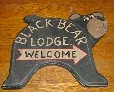 LARGE Rustic BLACK BEAR LODGE WELCOME ARROW Cabin Wood Sign Home Decor NEW