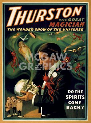 """VINTAGE REPRODUCTION -THURSTON THE GREAT MAGICIAN-ART PRINT POSTER 14""""x11""""(1606)"""
