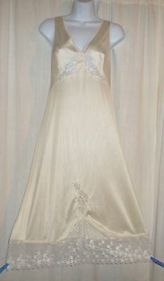 Vtg Champagne Gay Lure Semi Sheer Bodice Lace Flowers Nightgown Nightie M  L