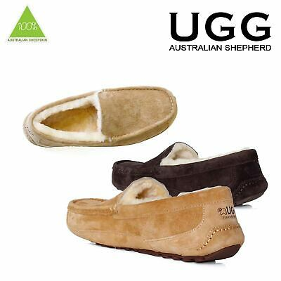 Ugg Sheepskin Moccasin Suede Mens Ladies Chestnut Chocolate Brown Size 40-44 EU
