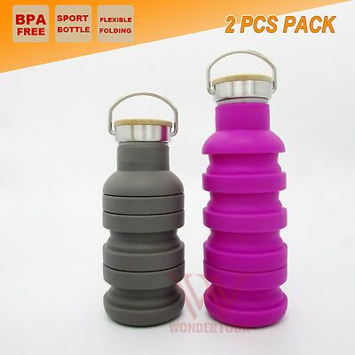 2x Collapsible School Office Water Bottle Outdoor Camping Gym Sport Kettle Cup