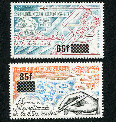 NIGER 1981 Letter Writing Week, SET OF 2 , MINT Never Hinged