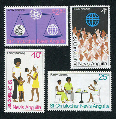 ST. CHRISTOPHER NEVIS ANGUILLA 1974 Family Planning, SET OF 4, MINT NH