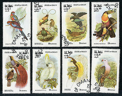 STATE OF OMAN 1973 Birds, SET OF 8, USED Never Hinged