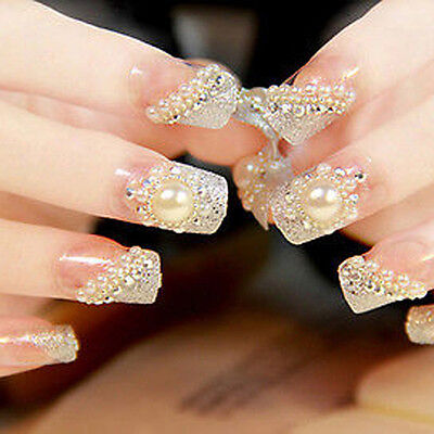 24PCS Bride Wedding 3D False Artificial Fake Nails Tips French Pearl Style SJ6