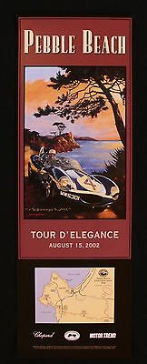 SIGNED Pebble Beach Concours 2002 Tour Poster JAGUAR D-TYPE LeMans Ecosse Rowe