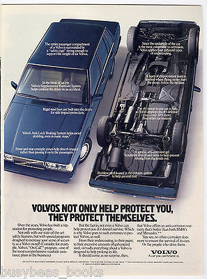 1989 VOLVO advertisement, Volvo sedan, with upside-down Volvo too