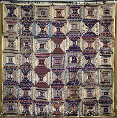 MUSEUM PAIR Antique Wool Challis Log Cabin QUILTS York County PA + Book QUILT