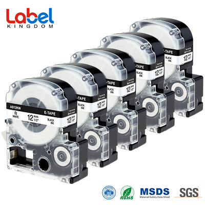 5PK 12mm*8m Black on White Compatible EPSON Label Tape SS12KW for LW300 LW400