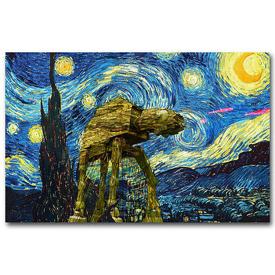 "Starry Night Star Wars Poster Movie Art Silk Poster Print Wall Art 12x18"" 16x24"""