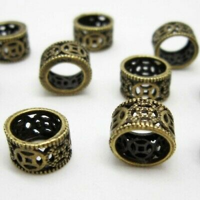 8 x Dreadlock Hair Beads, Cuffs, Rings for Braids, Extensions, Antique Bronzed