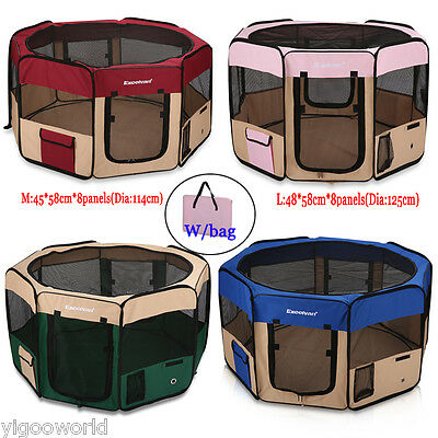 Portable 8 Panel Pet Soft Playpen Puppy Dog Cat Play Crate Cage Enclosure Tent