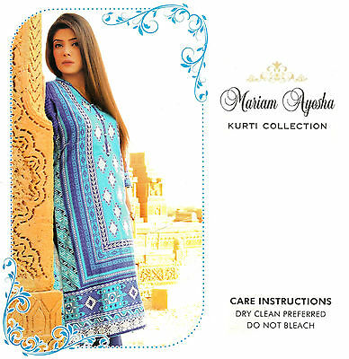 Pakistani Designer Lawn Kurta Stitched Indian Kurti Women Embroidered Tunic Top