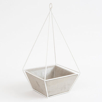 Gorgeous Large Hanging Triangular White Metal Garden Planter With Cement Pot