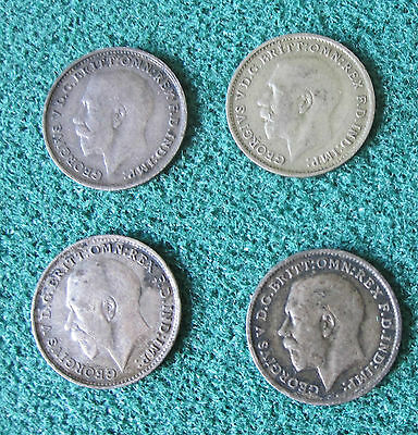 Six George V British Silver Threepence Coins