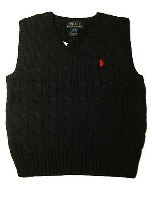 Ralph Lauren boys polo small pony cable cotton tank top jumper navy 12 18  24m