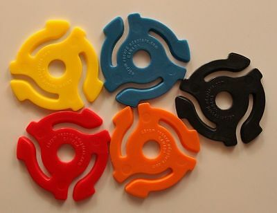 """5 PACK Brand New 45 rpm RECORD INSERTS ADAPTORS SPIDERS FOR 7"""" VINYL RECORDS"""