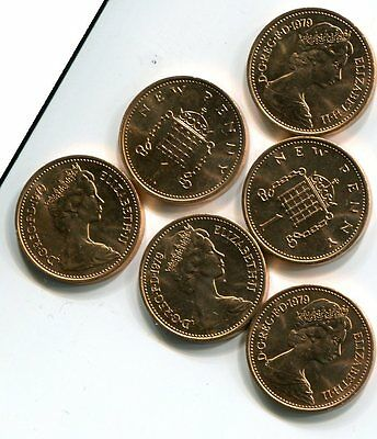 Six One New Penny Uncirculated 1979 Coins