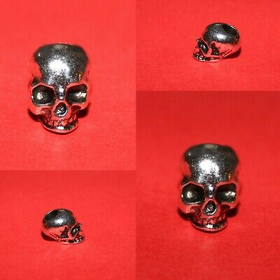 2x Skull Dreadlock Hair Cuffs, Beads for Braids, Hair Extensions,Tibetan Silver