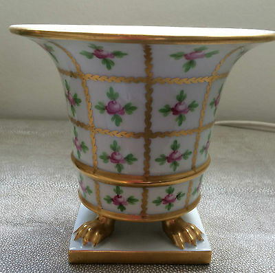 Herend Vase Planter Pot Porcelain Hand Painted Claw Foot