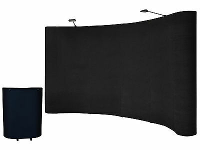 8' FT Portable Black Display Trade Show Booth Exhibit Pop Up Kit W/Spotlights